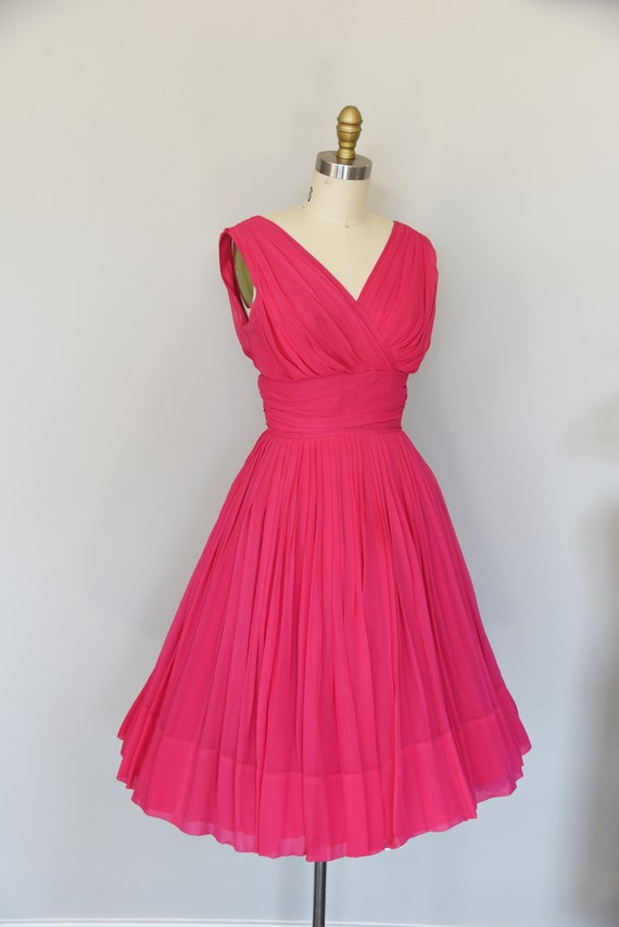 1950s Dress | Lovely 50s Pink Chiffon Dress with … - image 5