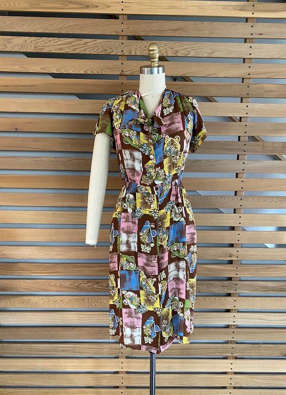 1940s Dress | Fab 40s Flower Wagon Novelty Print … - image 2