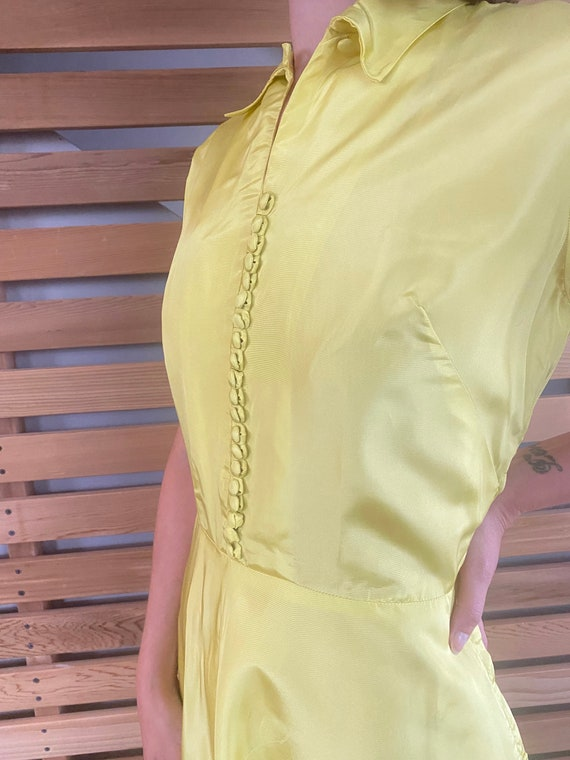 1940s Dress   Vibrant Chartreuse Yellow 40s Gown … - image 6