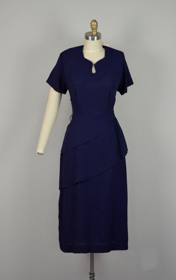 1940s Dress   Classic 40s Navy Blue Rayon Dress w… - image 2