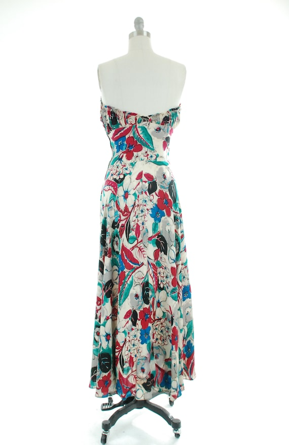 1930s Evening Gown   30s Strapless Silk Watercolo… - image 9