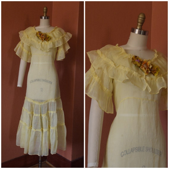 1930s Dress | Bright and Pretty 30s Lemon Yellow O