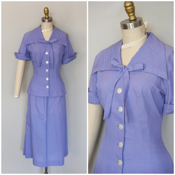 1950s Suit | Lightweight 50s Purple Cotton Summer