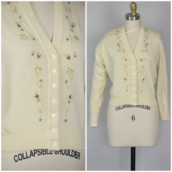 1950s Sweater | Lovely 50s Ivory Beaded Cardigan -