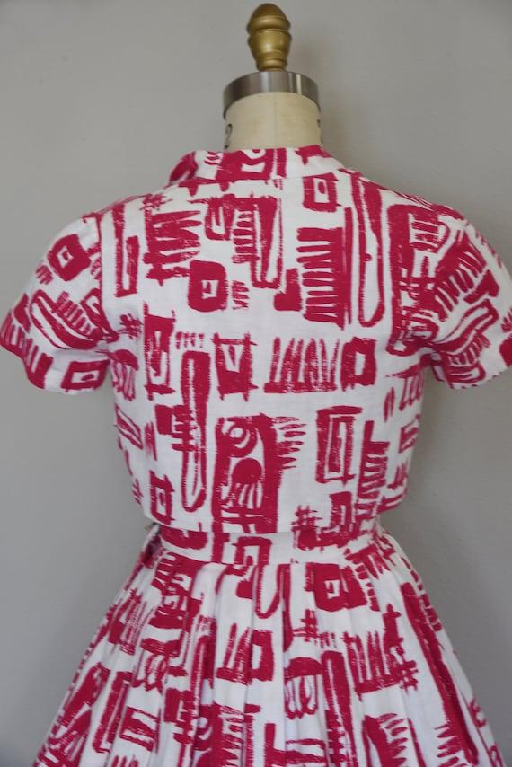 1950s Dress Set | Striking 50s Linen Fit and Flar… - image 8