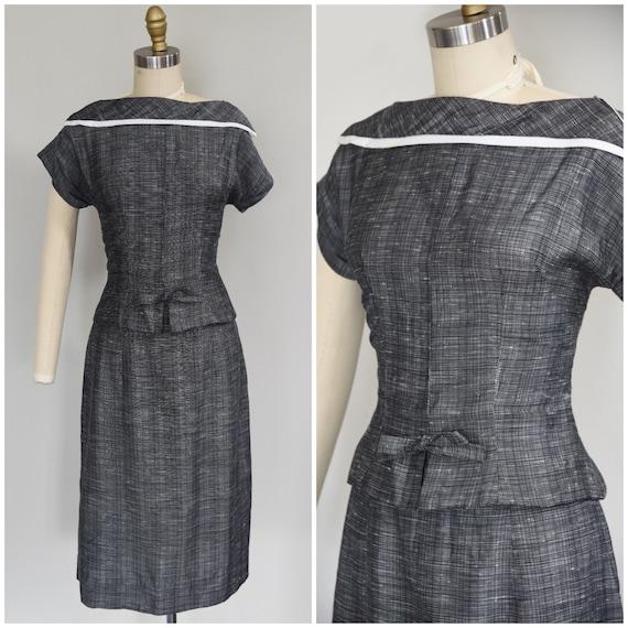 1950s Skirt Set | Smart 50s Linen Dark Gray Skirt