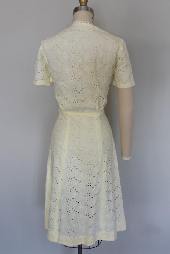 1930s Dress | Crisp 30s Cotton Eyelet Dress with … - image 8
