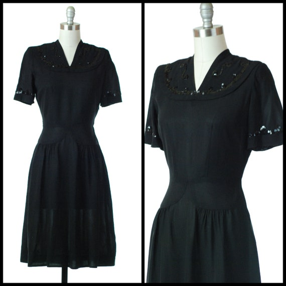 1940s Dress | 40s Black Rayon Dress with Sequins -