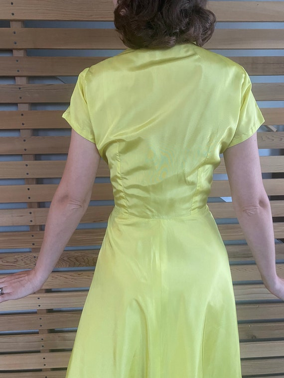 1940s Dress   Vibrant Chartreuse Yellow 40s Gown … - image 8