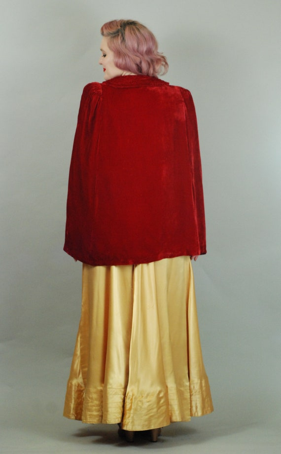 SALE - 1930s Cape | 30s Silk Velvet Red Cape with… - image 9