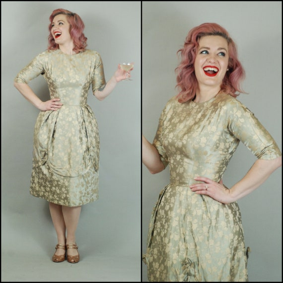 1950s Dress   50s Gold Brocade Dress with Half Sle