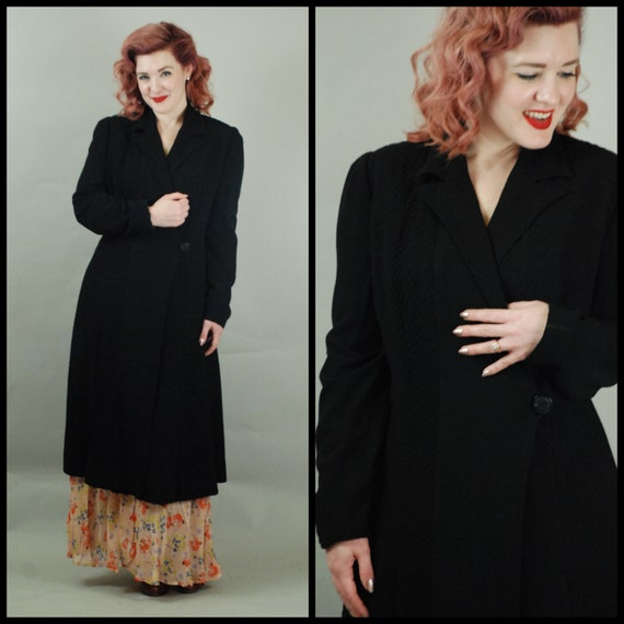 SALE - 1930s Coat | Gorgeous 30s Wool Crepe Coat w