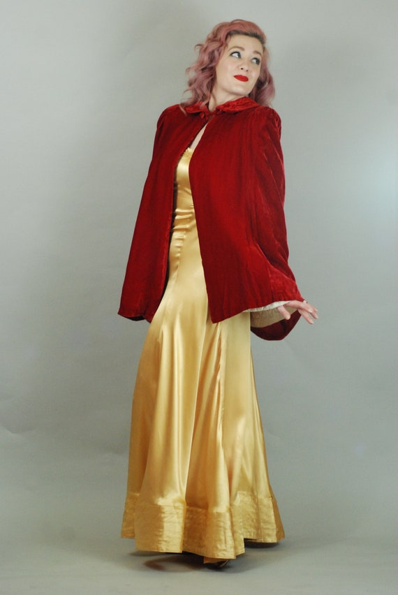 SALE - 1930s Cape | 30s Silk Velvet Red Cape with… - image 7
