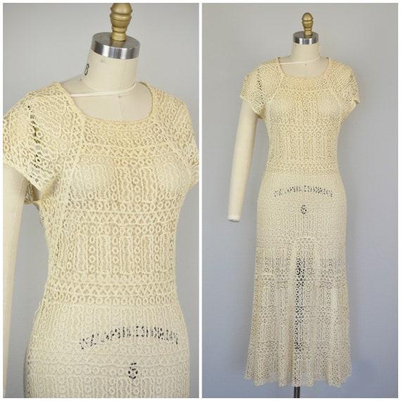 1930s Dress | Stunning 30s Handstitched Crochet Iv