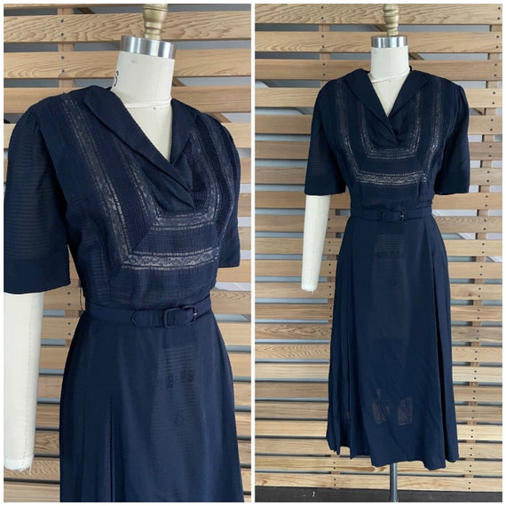 1940s Dress   Lovely 40s Rayon Sheer Dress with L… - image 1