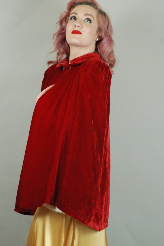 SALE - 1930s Cape | 30s Silk Velvet Red Cape with… - image 6