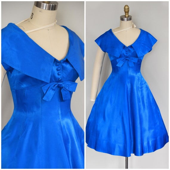1950s Dress | Vibrant 50s Sapphire Blue Saks Fifth