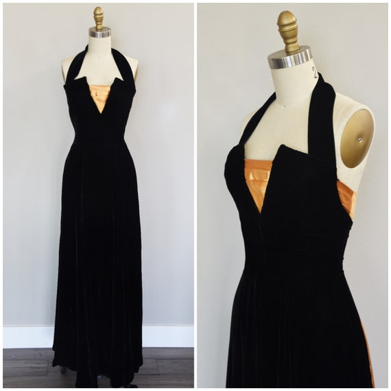 1940s Dress   Stunning Late 40s Frankenstein Satin