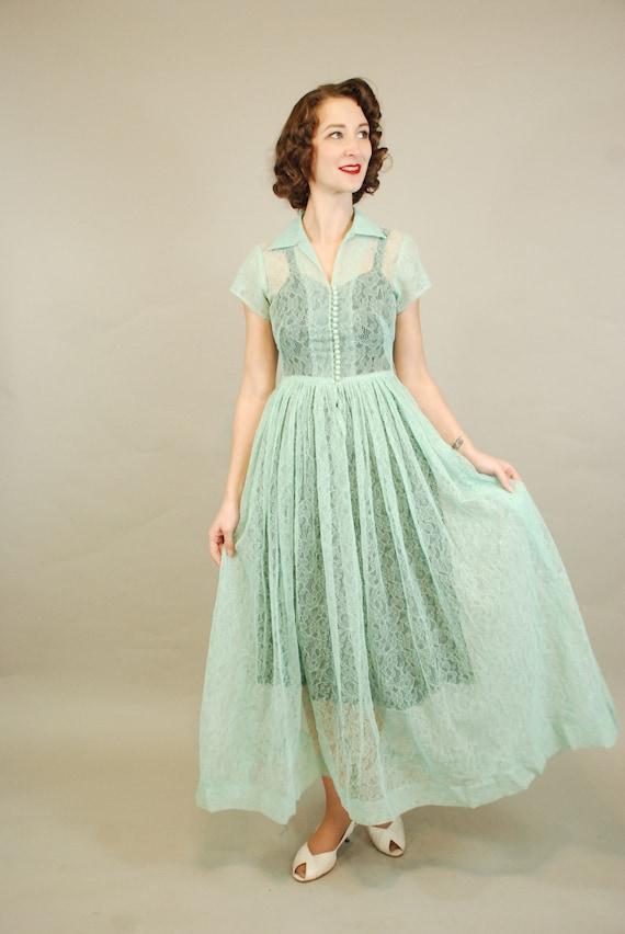 1940s Dress | Lovely 40s Seafoam Green Lace Dress… - image 2