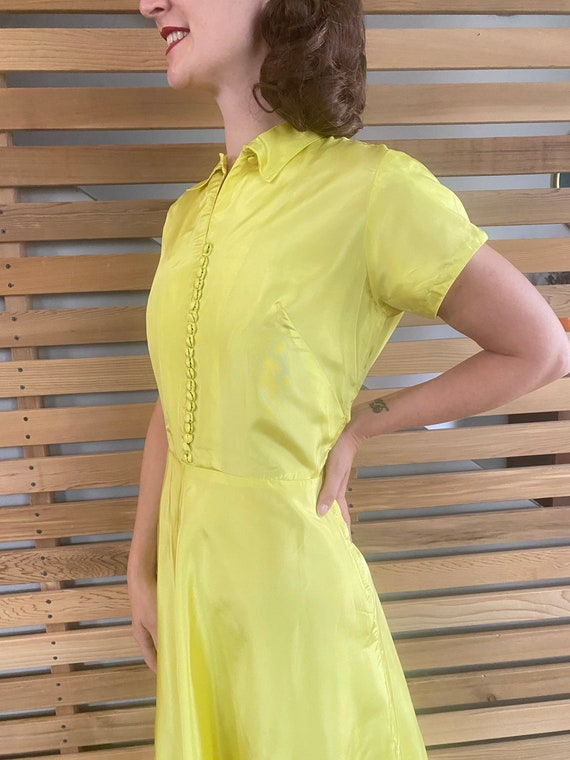 1940s Dress   Vibrant Chartreuse Yellow 40s Gown … - image 5