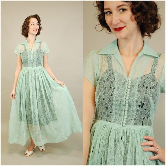 1940s Dress | Lovely 40s Seafoam Green Lace Dress… - image 1