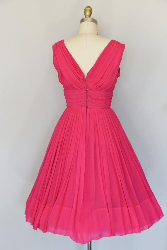 1950s Dress | Lovely 50s Pink Chiffon Dress with … - image 7