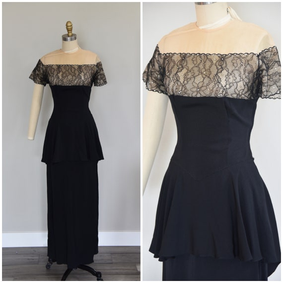 1940s Dress | Dramatic 40s Emma Domb Party Lines G