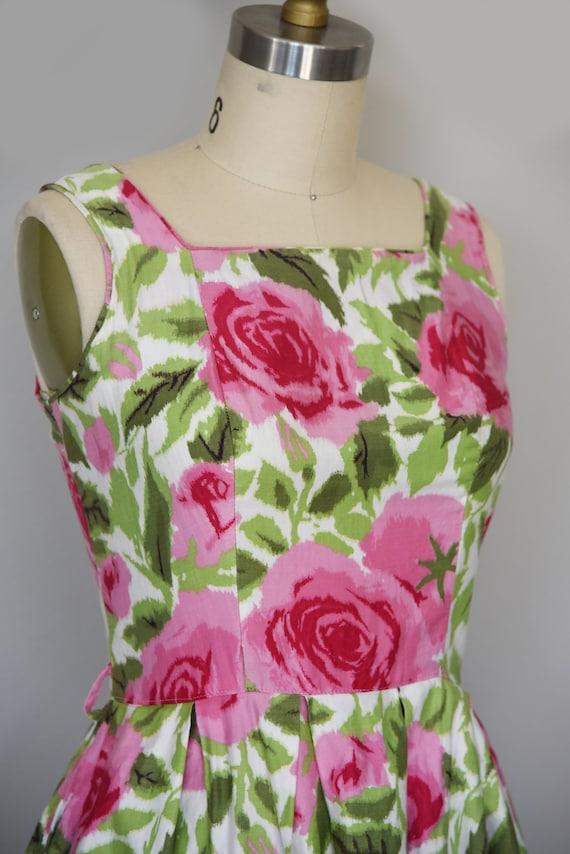 1950s Dress | Lovely 1950s Cotton Rose Print Dres… - image 5