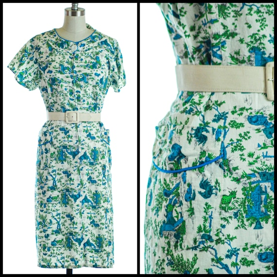 1950s Dress | 1950s Novelty Print Cotton Day Dress