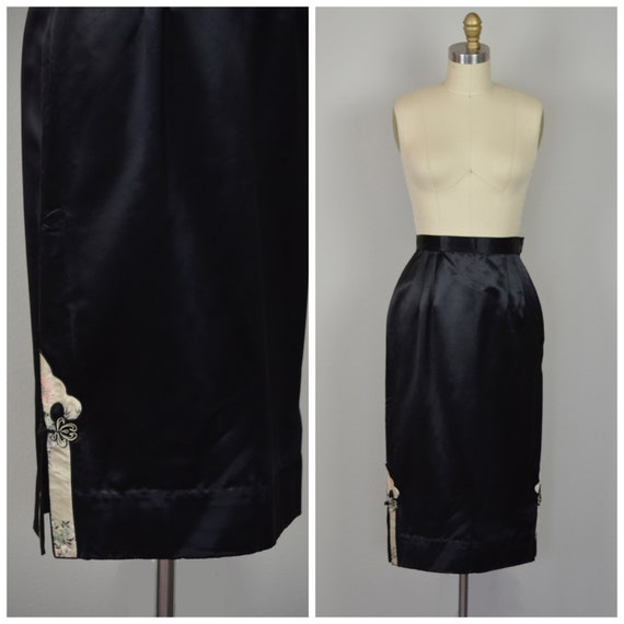 1950s Skirt | Slinky 50s Black Satin Skirt with Pi