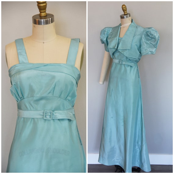 1930s Dress | Charming 30s Turquoise Set with Dres