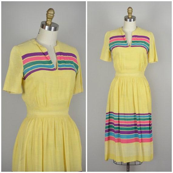 1930s Dress | Sporty Yellow 30s Dress with Rainbow