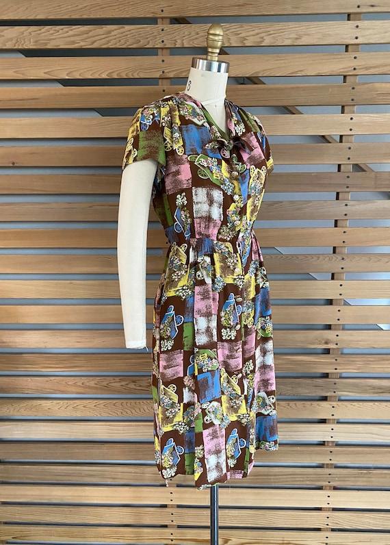 1940s Dress | Fab 40s Flower Wagon Novelty Print … - image 6