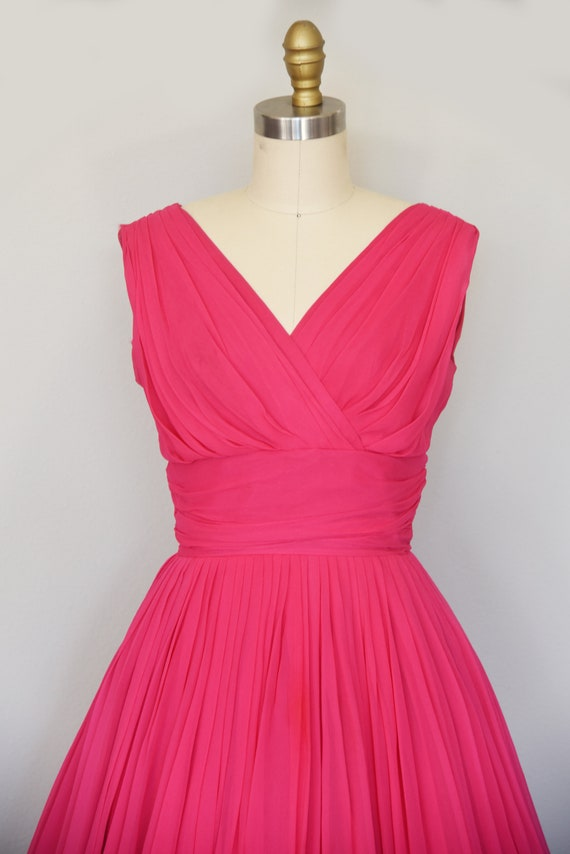 1950s Dress | Lovely 50s Pink Chiffon Dress with … - image 3