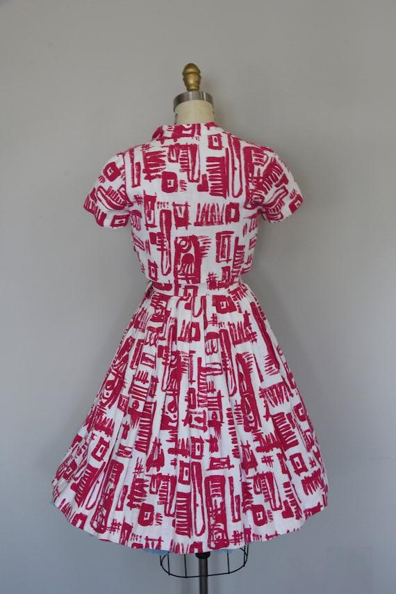 1950s Dress Set | Striking 50s Linen Fit and Flar… - image 7