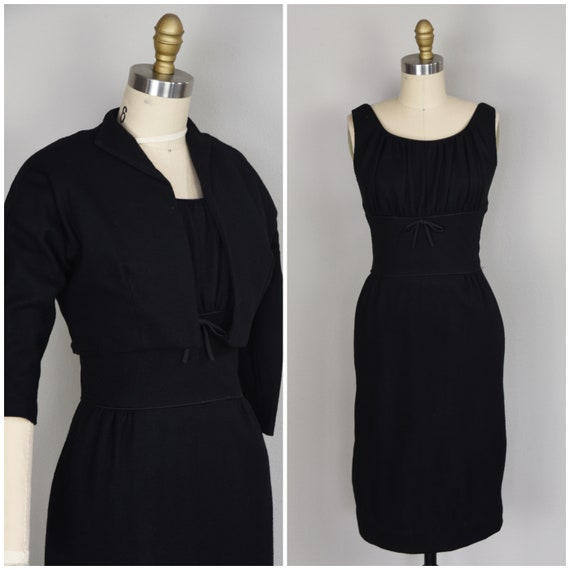 1960s Dress Set | Perfect 60s Black Wool Knit Dres
