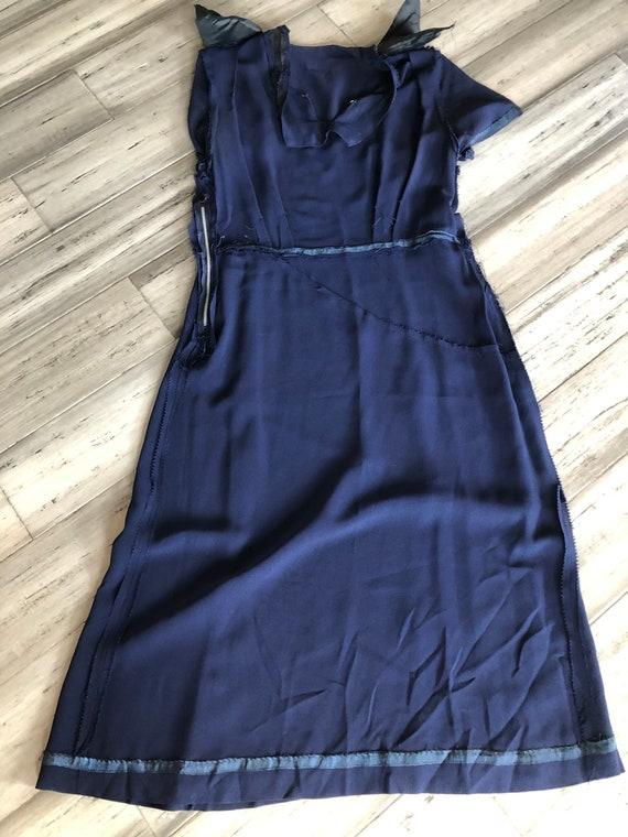 1940s Dress   Classic 40s Navy Blue Rayon Dress w… - image 9