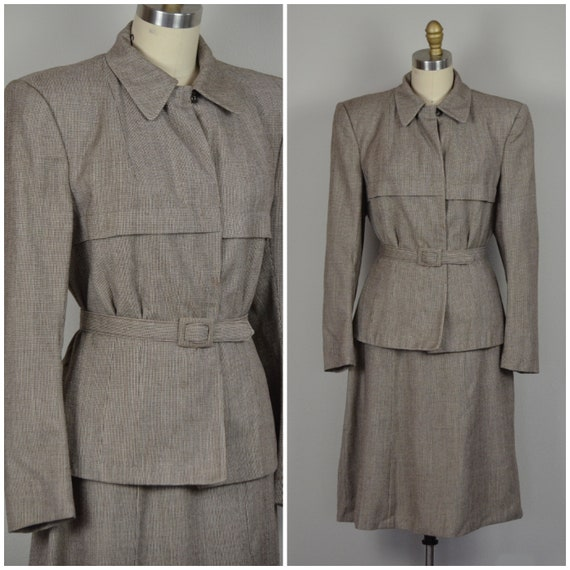 1940s Suit | Chic Newspaper Gal 40s Houndstooth Su