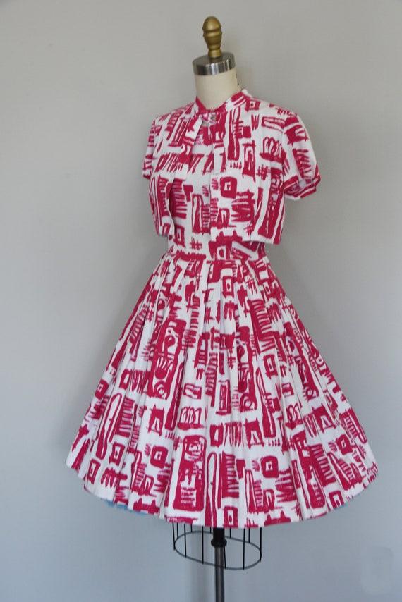 1950s Dress Set | Striking 50s Linen Fit and Flar… - image 5