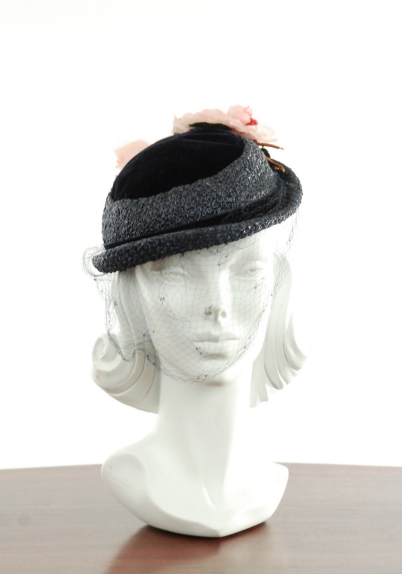 8ba7b9edeead9 1940s Mini Navy Blue Straw Bowler Hat with velvet crown and
