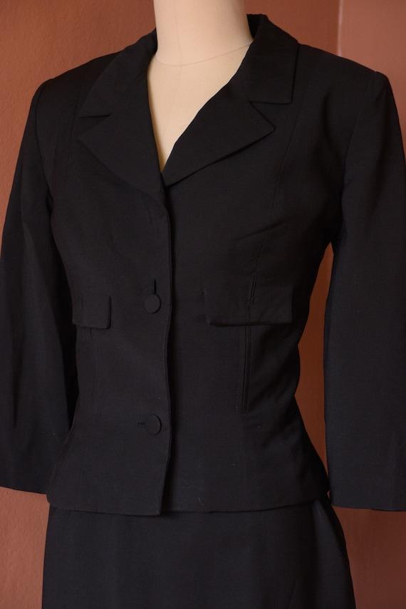 SALE - 1940s Suit | Smart 40s Black Suit with Cro… - image 6