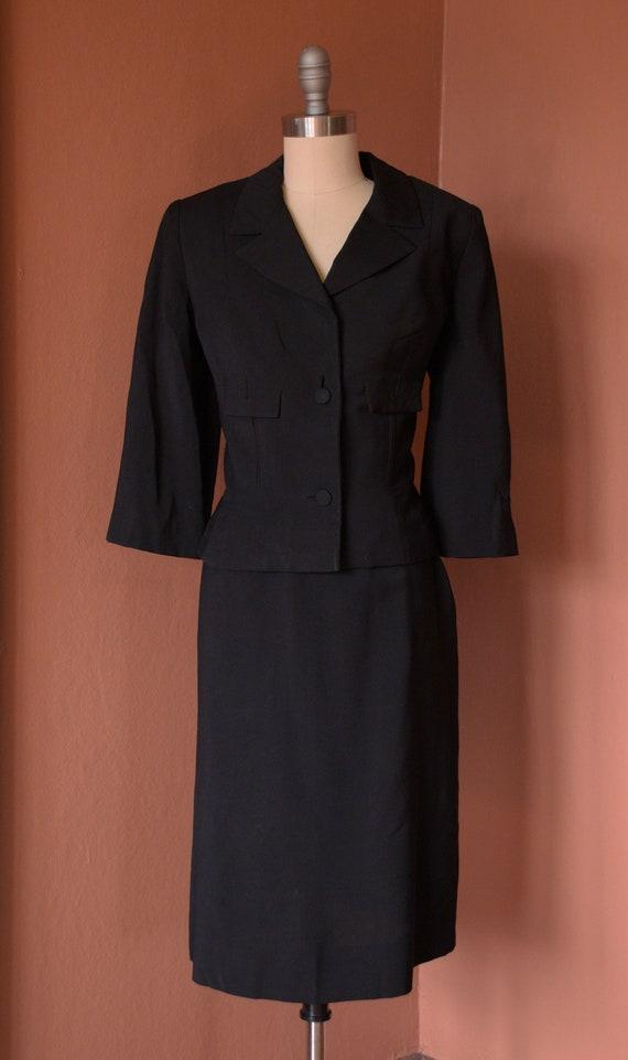 SALE - 1940s Suit | Smart 40s Black Suit with Cro… - image 2