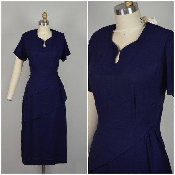 1940s Dress | Classic 40s Navy Blue Rayon Dress wi