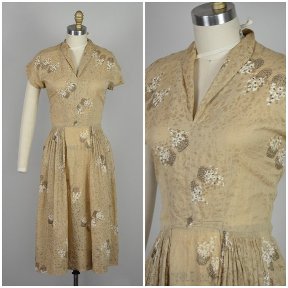 1940s Dress | Lovely Post War 40s Light Brown Nove