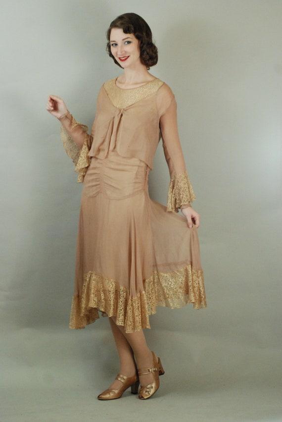 1920s Dress | Gorgeous 20s Silk Chiffon Dress wit… - image 2