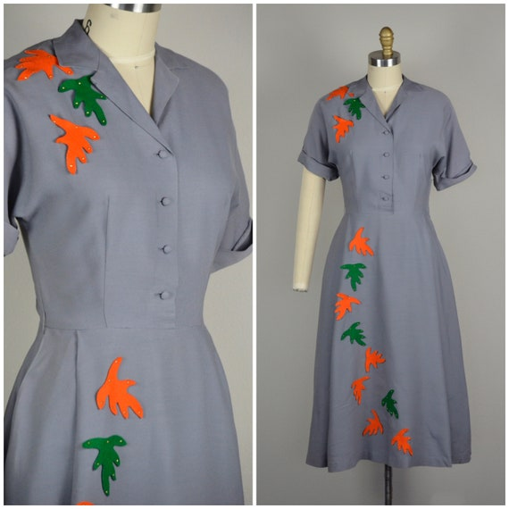 1940s Dress | Lovely 40s Gray Gabardine Dress with