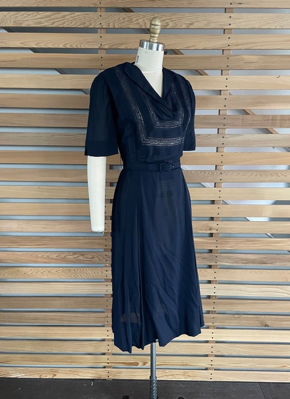 1940s Dress   Lovely 40s Rayon Sheer Dress with L… - image 5