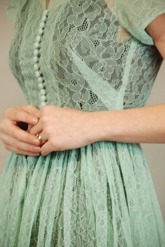 1940s Dress | Lovely 40s Seafoam Green Lace Dress… - image 8