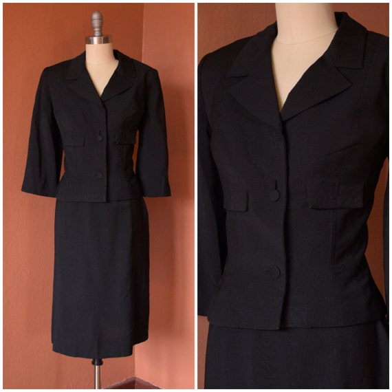 SALE - 1940s Suit | Smart 40s Black Suit with Cro… - image 1