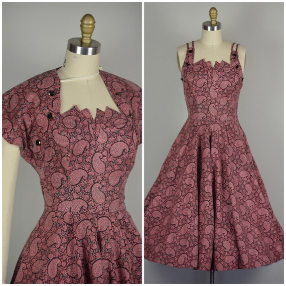 1950s Dress and Bolero Set | Fun 50s Cotton Paisle